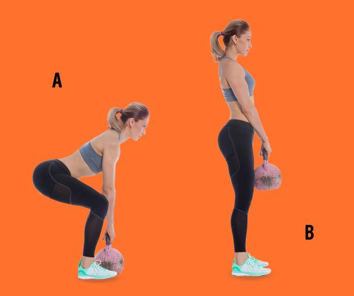 Exercitii pentru posterior rotund: Fandari Kettlebell ghemuit