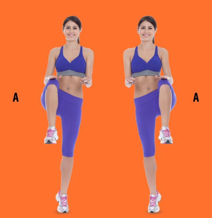 Exercitii pentru fund rotund: Ridicarea genunchiului la cot